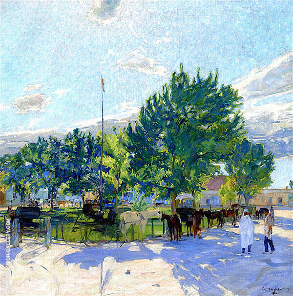 Taos Plaza New Mexico 1917 Painting By Walter Ufer - Reproduction Gallery