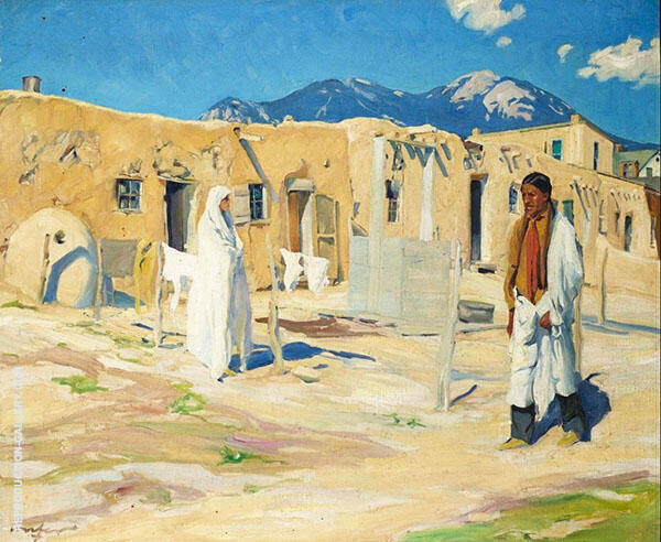 Taos Pueblo Scene Painting By Walter Ufer - Reproduction Gallery
