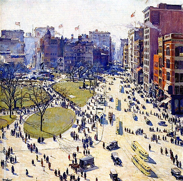The Battery Union Square 1919 Painting By Walter Ufer