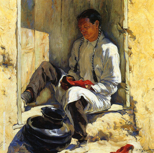 The Red Moccasins 1917 Painting By Walter Ufer - Reproduction Gallery