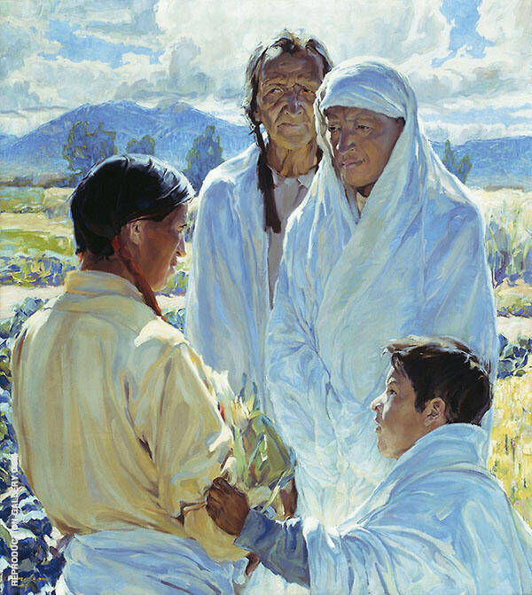 The Solemn Pledge Taos Indians 1916 Painting By Walter Ufer