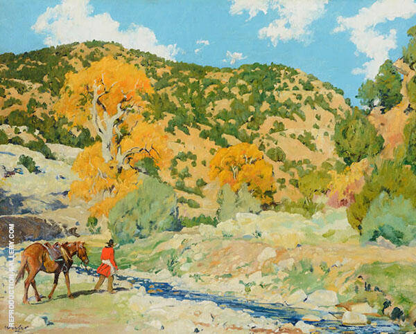 Water Crossing The Creek Painting By Walter Ufer - Reproduction Gallery