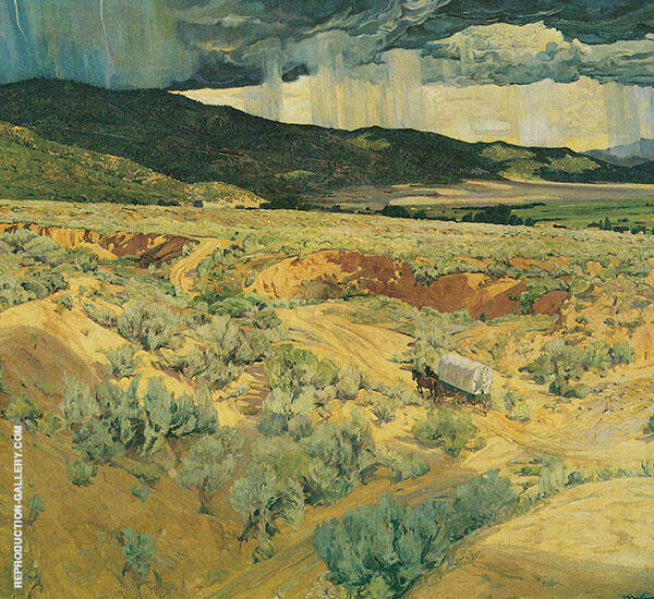 Where The Desert Meets The Mountain 1922 Painting By Walter Ufer