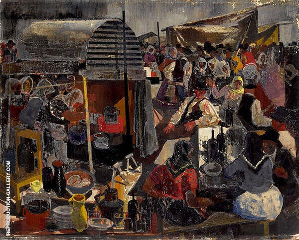 At The Market Painting By Vilmos aba-Novak - Reproduction Gallery
