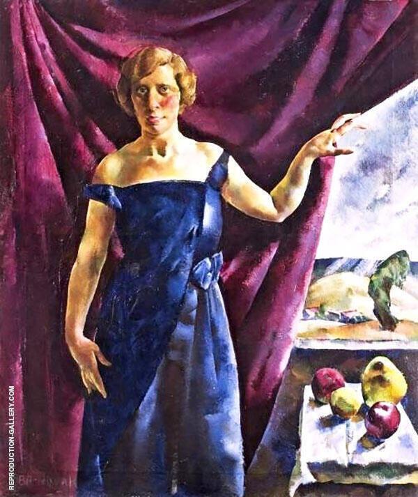 Blue Dress with Fruit Still Life By Vilmos aba-Novak