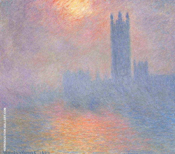 Houses of Parliament Sun Shining through Fog 1904 Painting By Claude Monet