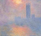 Houses of Parliament Sun Shining through Fog 1904 By Claude Monet
