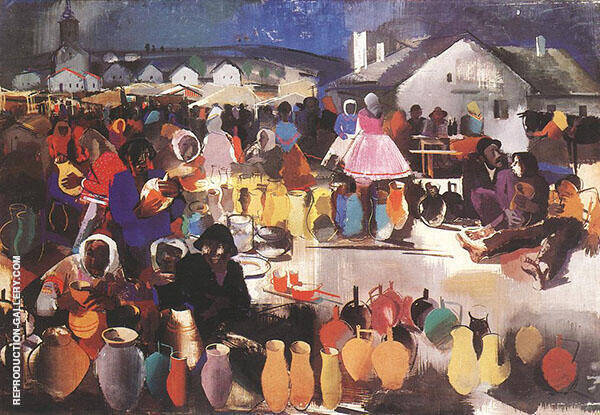 Market of Ceramics Painting By Vilmos aba-Novak - Reproduction Gallery