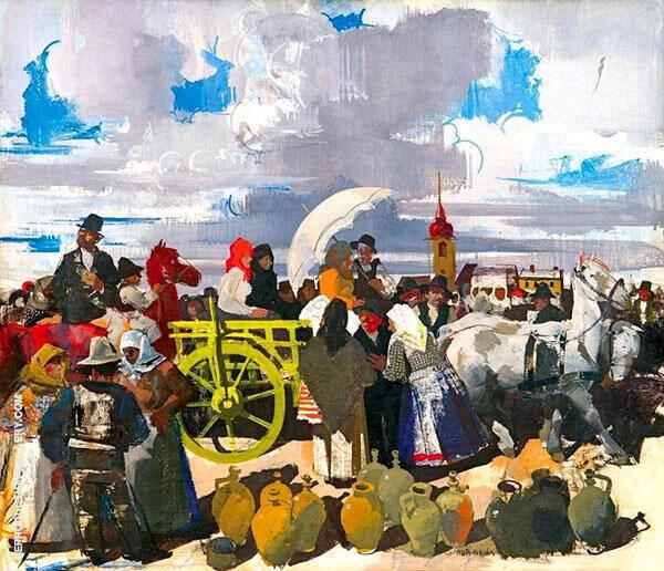 Market Scene By Vilmos aba-Novak