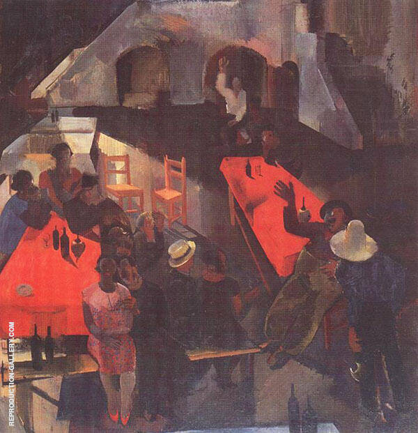 Pub 1930 Painting By Vilmos aba-Novak - Reproduction Gallery