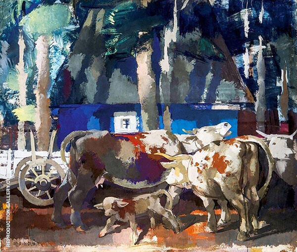 Resting Cows Painting By Vilmos aba-Novak - Reproduction Gallery