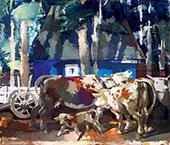 Resting Cows By Vilmos aba-Novak