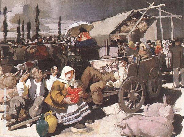 Scene on The Fair 1936 Painting By Vilmos aba-Novak - Reproduction Gallery