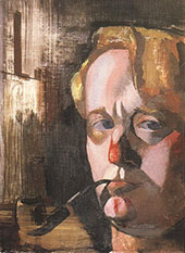 Self Portrait with Pipe and Easel 1930 By Vilmos aba-Novak