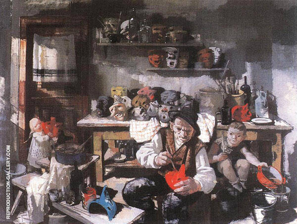 The Mask Maker 1941 Painting By Vilmos aba-Novak - Reproduction Gallery