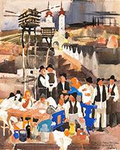 Village Scene By Vilmos aba-Novak
