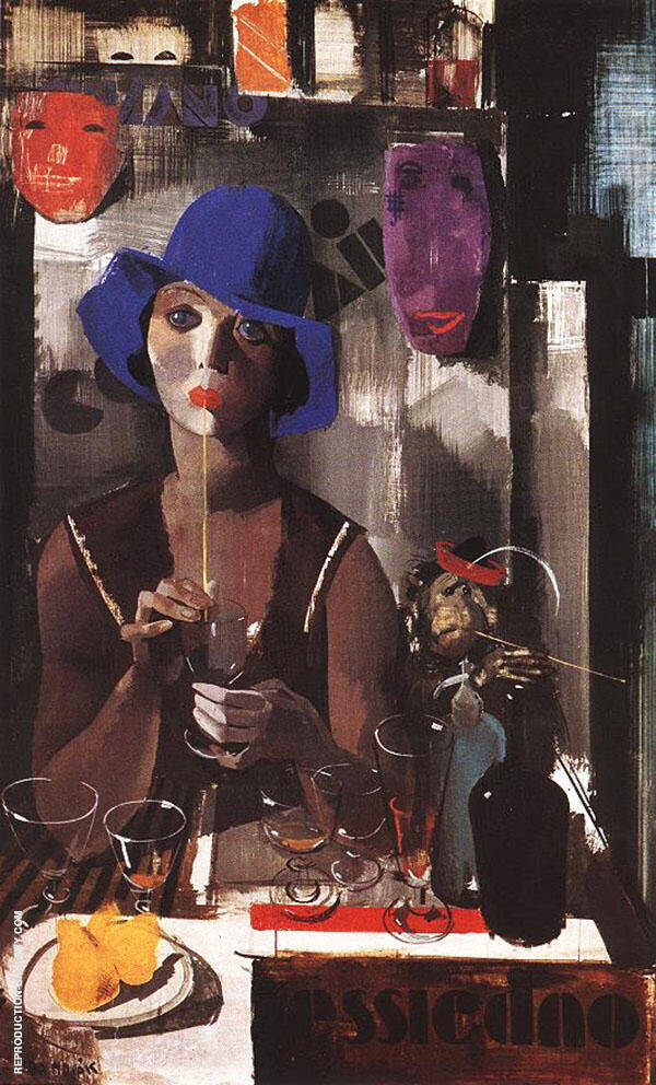 Woman with Blue Hat c1930 Painting By Vilmos aba-Novak