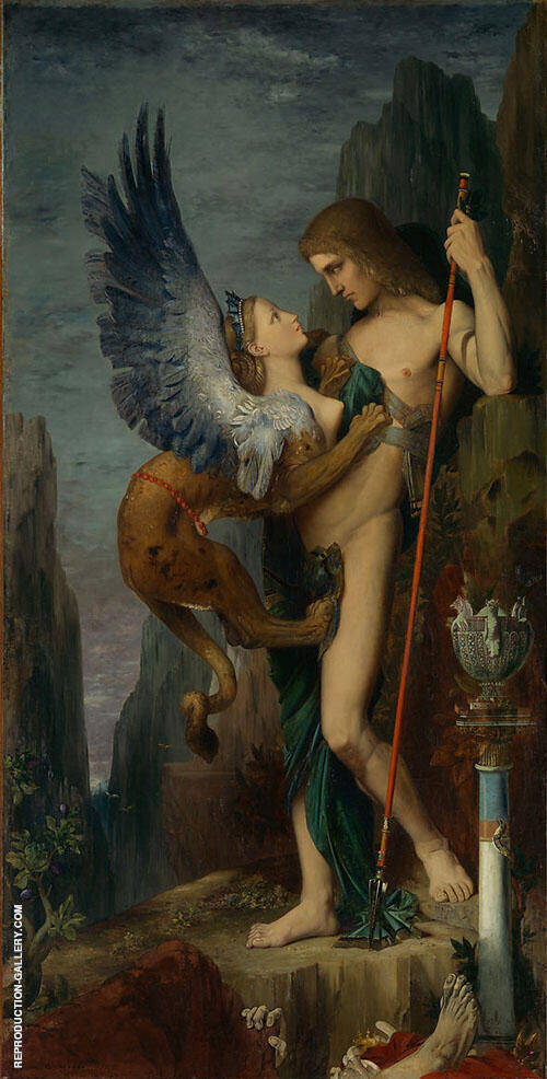 Oedipus and the Sphynx by Gustave Moreau   Oil Painting Reproduction Replica On Canvas - Reproduction Gallery