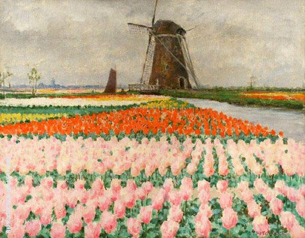 Pink Tulips Bulb Fields with Windmill By George Hitchcock
