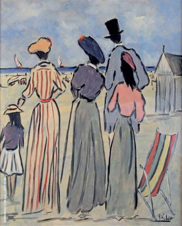 Beach at Normandy Painting By Henry Saint-Clair - Reproduction Gallery