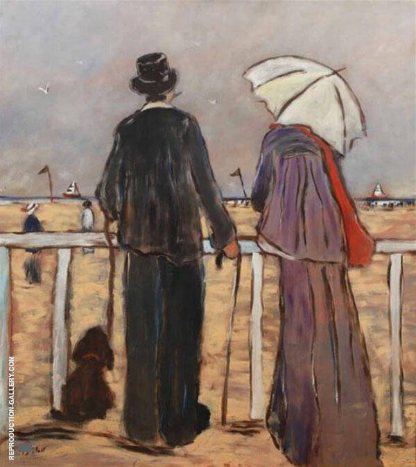 Couple Seen from Behind in Front of a Railing Painting By ...