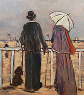 Couple Seen from Behind in Front of a Railing By Henry Saint-Clair