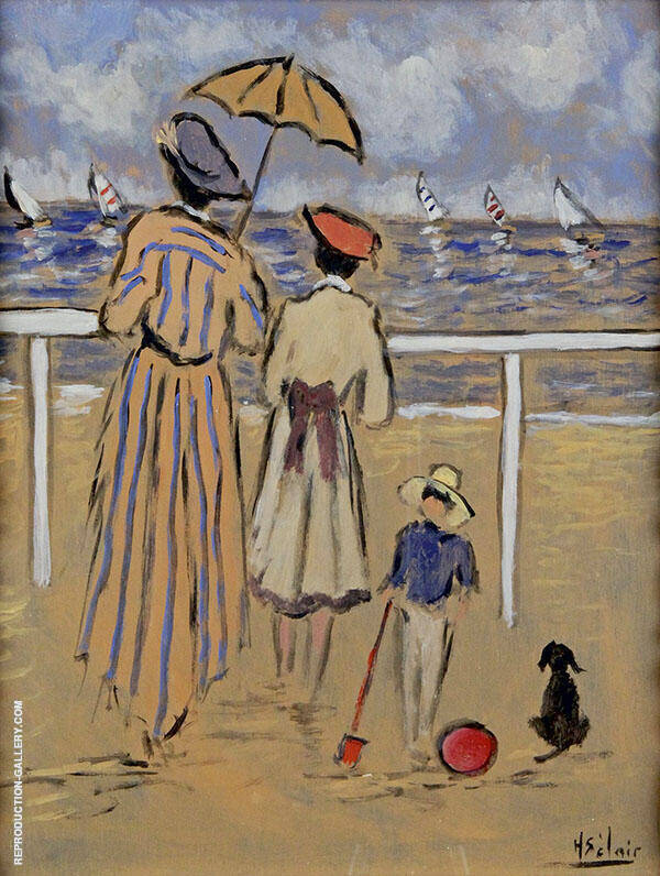 Family Before The Ocean Painting By Henry Saint-Clair
