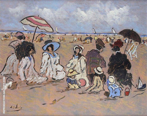Family Day on The Beach and Normandy Painting By Henry Saint-Clair