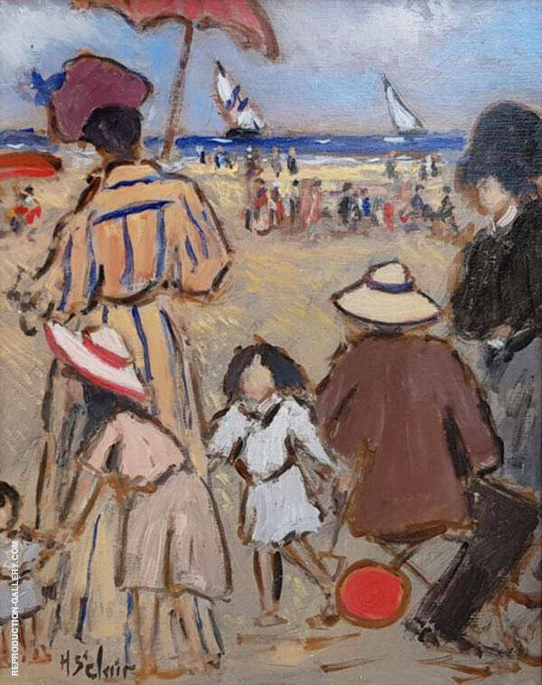Playing on The Beach Painting By Henry Saint-Clair - Reproduction Gallery