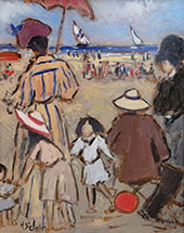 Playing on The Beach By Henry Saint-Clair