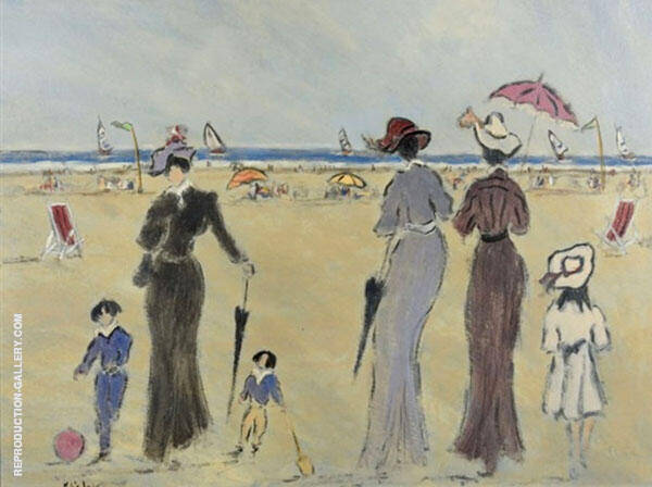 Sur La Plage Painting By Henry Saint-Clair - Reproduction Gallery