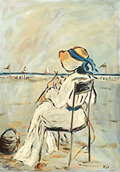 Woman Sitting on The Beach By Henry Saint-Clair