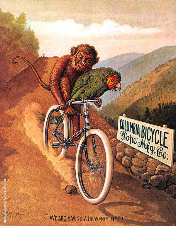 Columbia Bicycle Poster By Cassius Marcellus Coolidge
