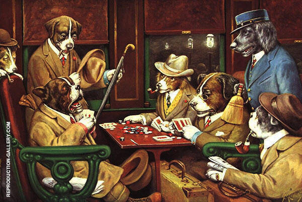 His Station and Four Aces Painting By Cassius Marcellus Coolidge