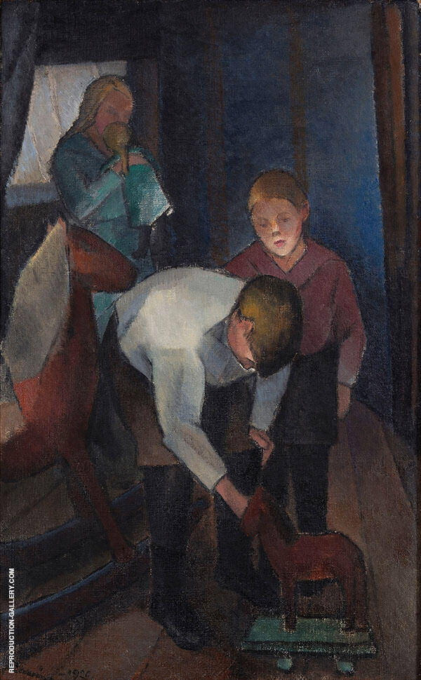 Children Playing 1920 Painting By Alvar Cawen - Reproduction Gallery