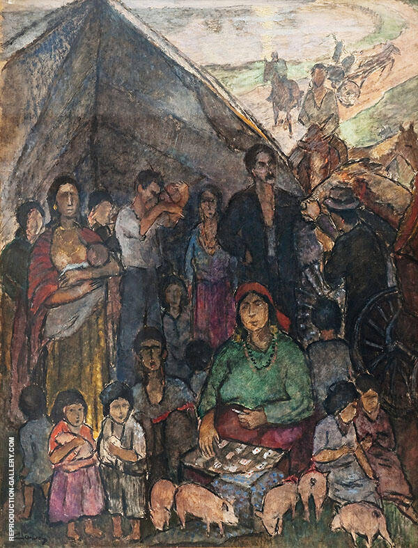 Gipsy Camp Painting By Alvar Cawen - Reproduction Gallery