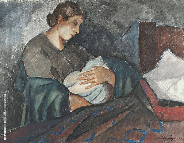 Mother and Child 1924 Painting By Alvar Cawen - Reproduction Gallery