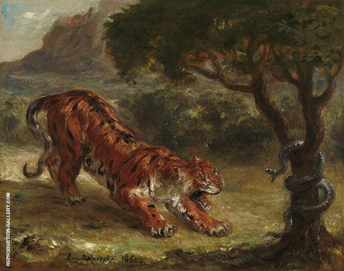 Tiger and Snake1862 By Eugene Delacroix