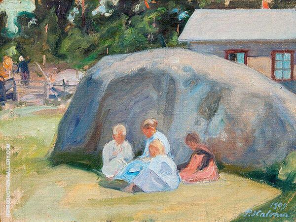 Children Playing in The Yard By Pekka Halonen