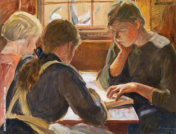 Children Reading By Pekka Halonen