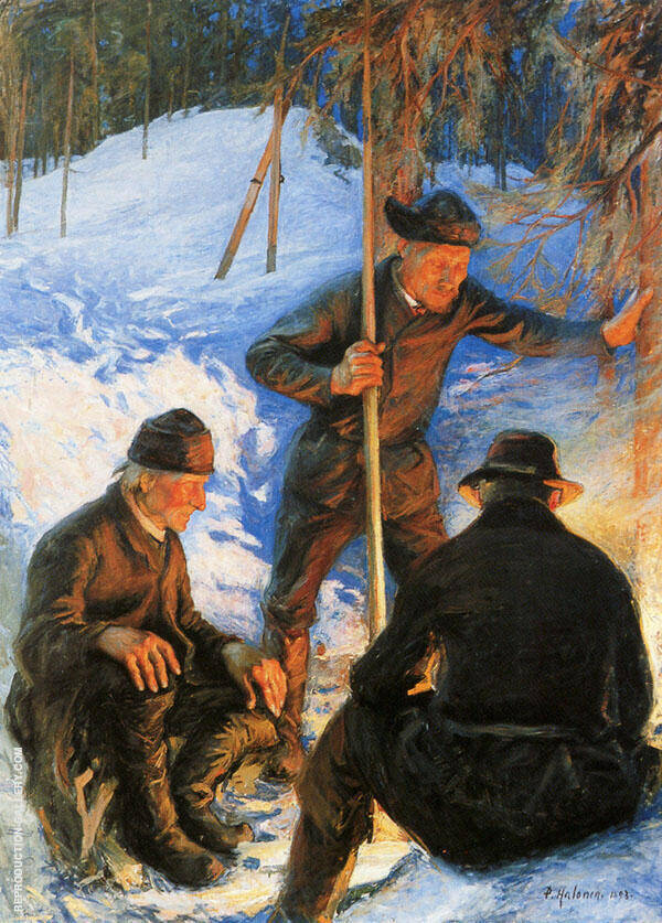 Loggers at The Campfire 1893 By Pekka Halonen