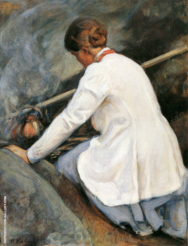 Maija Halonen Boiling Coffee on The Fire 1905 By Pekka Halonen