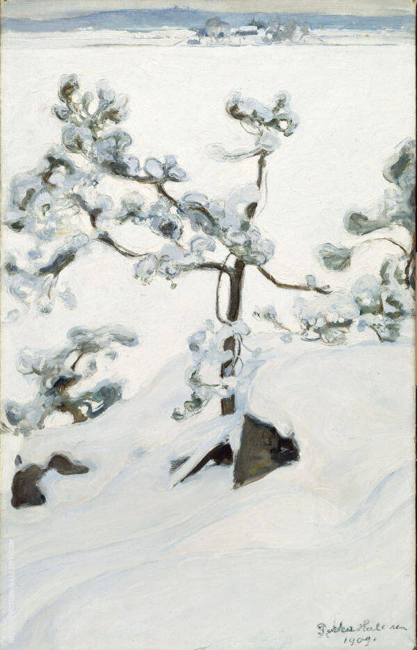 Pine in The  Snow 1909 By Pekka Halonen