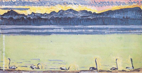Lake Geneva with Mont Blanc at Dawn 1918 2 By Ferdinand Hodler