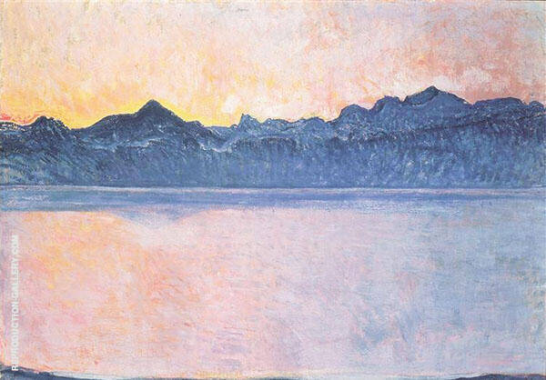 Lake Geneva with Mont Blanc in The Morning Light 1918 By Ferdinand Hodler