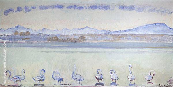 Lake Geneva with Six Swans 1914 By Ferdinand Hodler