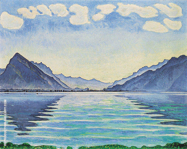 Lake Thun with Symmetrical Reflection 1905 By Ferdinand Hodler