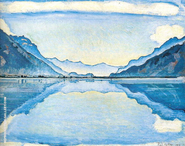 Lake Thun with Symmetrical Reflection 1909 By Ferdinand Hodler