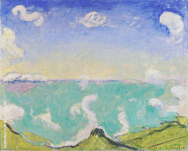 Landscape near Caux with Rising Clouds 1917 By Ferdinand Hodler
