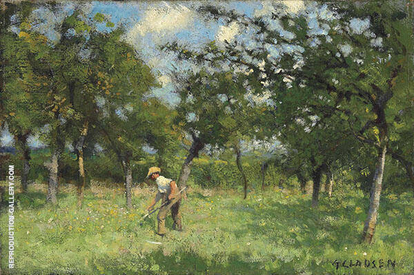 A Man Scything in an Orchard By Sir George Clausen